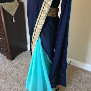 New saree in teal and blue, ready to wear blouse